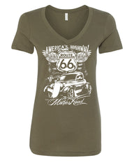 Route 66 America's Highway V-Neck T-Shirt The Mother Road - Tee Hunt - 8