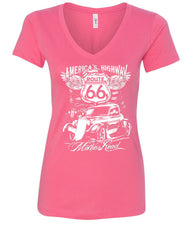 Route 66 America's Highway V-Neck T-Shirt The Mother Road - Tee Hunt - 6