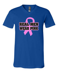 Real Men Wear Pink V-Neck T-Shirt Breast Cancer Awareness Tee - Tee Hunt - 12