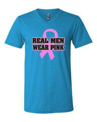 Real Men Wear Pink V-Neck T-Shirt Breast Cancer Awareness Tee - Tee Hunt - 11