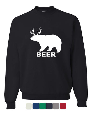 Bear + Deer = Beer Funny Drinking Crew Neck Sweatshirt Beer - Tee Hunt - 1