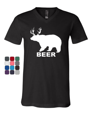 Bear + Deer = Beer Funny Drinking V-Neck T-Shirt Beer Tee - Tee Hunt - 1