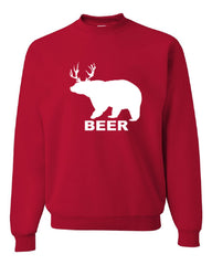 Bear + Deer = Beer Funny Drinking Crew Neck Sweatshirt Beer - Tee Hunt - 4