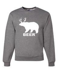 Bear + Deer = Beer Funny Drinking Crew Neck Sweatshirt Beer - Tee Hunt - 6