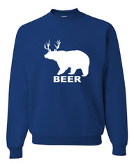 Bear + Deer = Beer Funny Drinking Crew Neck Sweatshirt Beer - Tee Hunt - 5