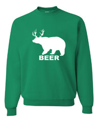 Bear + Deer = Beer Funny Drinking Crew Neck Sweatshirt Beer - Tee Hunt - 3