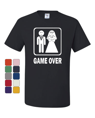 Game Over Funny T-Shirt Groom And Bride Wedding Tee Shirt - Tee Hunt - 1