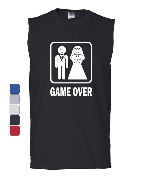 Game Over Funny Muscle Shirt Groom And Bride Wedding - Tee Hunt - 1