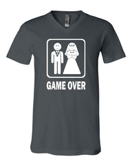 Game Over Funny V-Neck T-Shirt Groom And Bride Wedding Tee - Tee Hunt - 4