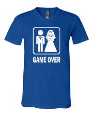 Game Over Funny V-Neck T-Shirt Groom And Bride Wedding Tee - Tee Hunt - 11