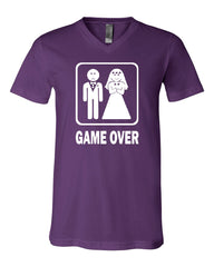 Game Over Funny V-Neck T-Shirt Groom And Bride Wedding Tee - Tee Hunt - 7