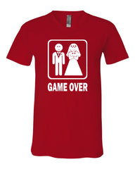 Game Over Funny V-Neck T-Shirt Groom And Bride Wedding Tee - Tee Hunt - 9