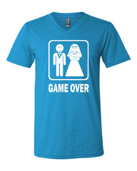 Game Over Funny V-Neck T-Shirt Groom And Bride Wedding Tee - Tee Hunt - 10