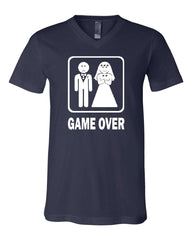Game Over Funny V-Neck T-Shirt Groom And Bride Wedding Tee - Tee Hunt - 5