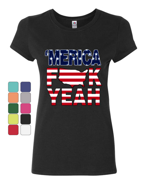 AMERICA F*CK YEAH Cotton T-Shirt  4th Of July Patriotic - Tee Hunt - 1