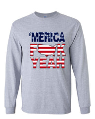 AMERICA F*CK YEAH Long Sleeve T-Shirt  4th Of July Patriotic - Tee Hunt - 4