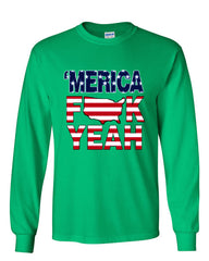 AMERICA F*CK YEAH Long Sleeve T-Shirt  4th Of July Patriotic - Tee Hunt - 12