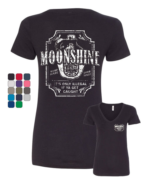 Moonshine Tennessee Whiskey V-Neck T-Shirt Smoky Mountain - Tee Hunt - 1