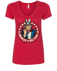 America Hell Yeah Women's V-Neck T-Shirt Uncle Sam Patriotic Stars and Stripes