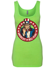 America Hell Yeah Women's Tank Top Uncle Sam Patriotic Stars and Stripes Top