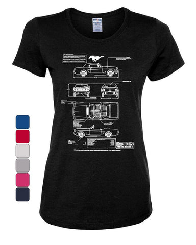 1966 Ford Mustang GT BlueprintWomen's T-Shirt American Classic Tee