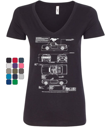 1966 Ford Mustang GT Blueprint Women's V-Neck T-Shirt American Classic