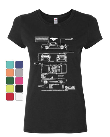 1966 Ford Mustang GT Blueprint Women's T-Shirt American Classic Cotton Tee