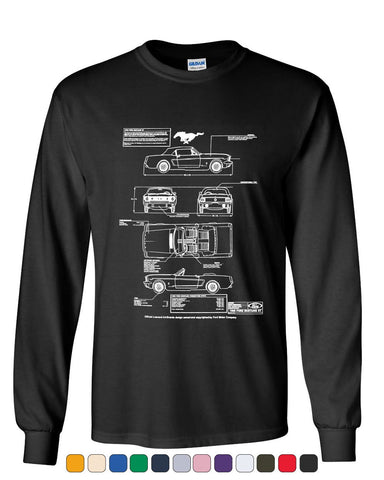 1966 Ford Mustang GT Blueprint Long Sleeve T-ShirtAmerican Classic Tee