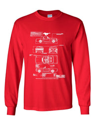 1966 Ford Mustang GT Blueprint Long Sleeve T-Shirt American Classic Tee