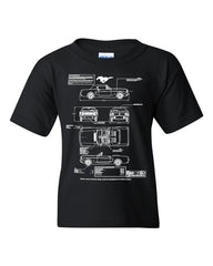 1966 Ford Mustang GT Blueprint Youth T-Shirt American Classic Tee