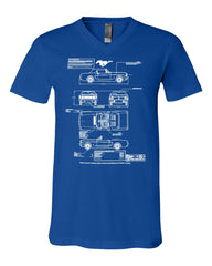 1966 Ford Mustang GT Blueprint V-Neck T-Shirt American Classic