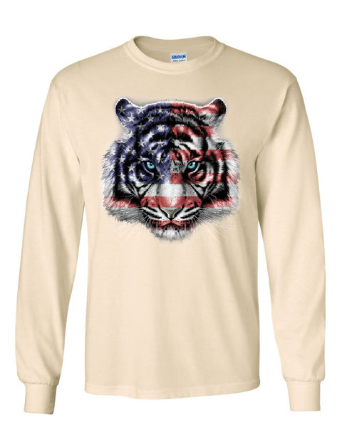 3b380144 ... American White Tiger Long Sleeve T-Shirt Stars and Stripes Wild Cat  Nature Tee