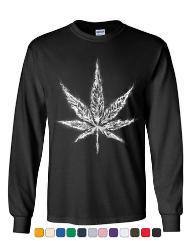 Smoking Pot Leaf Long Sleeve T-Shirt Smoking Weed 420 Marijuana Cannabis Tee