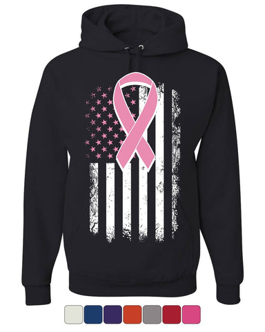 Pink Ribbon Flag Hoodie Breast Cancer Awareness Sweatshirt