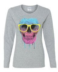 Skull with Glasses Women's Long Sleeve Tee Neon Dripping Bleeding Skull
