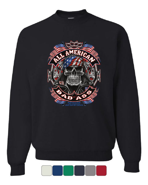 All American Bad Ass Sweatshirt Biker Skull American Flag Route 66 Sweater