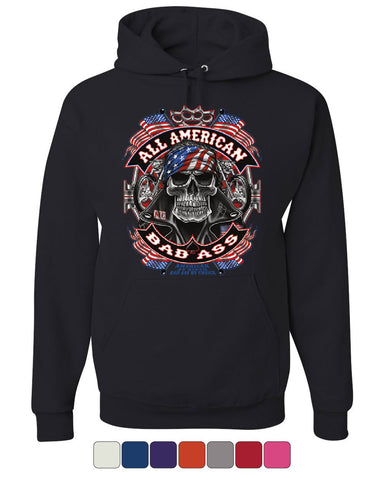 All American Bad Ass Hoodie Biker Skull American Flag Route 66 Sweatshirt