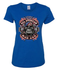 All American Bad Ass Women's T-Shirt Biker Skull American Flag Route 66 Tee