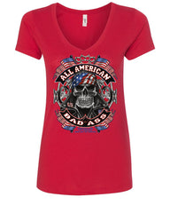 All American Bad Ass Women's V-Neck T-Shirt Biker Skull American Flag Route 66