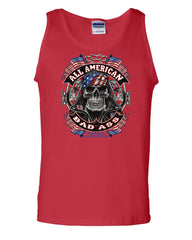 All American Bad Ass Tank Top Biker Skull American Flag Route 66 Sleeveless