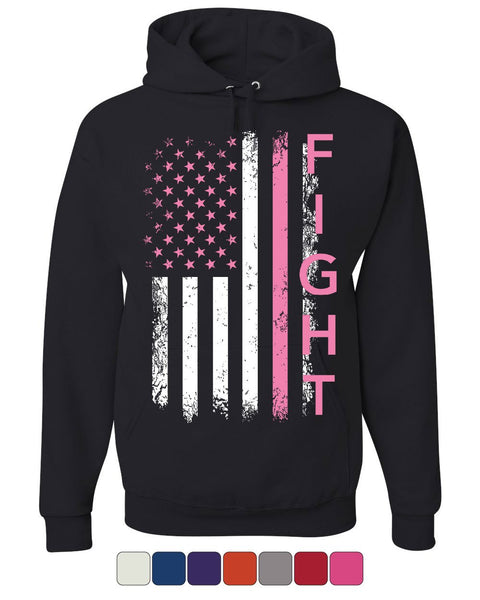 8e6d9268 Fight Cancer Pink Flag Hoodie Breast Cancer Awareness Sweatshirt