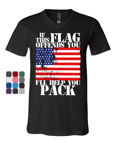 6981af68 If This Flag Offends You I'll Help You Pack V-Neck T-