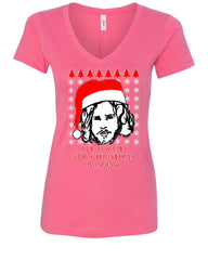 All I Want For Christmas Is Snow Women's V-Neck Tee GoT Parody Ugly Sweater