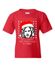 All I Want For Christmas Is Snow Youth T-Shirt GoT Parody Ugly Sweater Tee