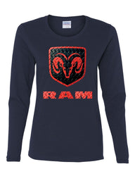 Black & Red Dodge RAM Logo Women's Long Sleeve Tee RAM Hemi