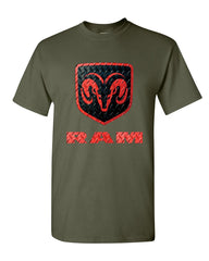 Black & Red Dodge RAM Logo T-Shirt RAM Hemi Pickup Cotton Tee