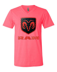 Black & Red Dodge RAM Logo V-Neck T-Shirt RAM Hemi Pickup