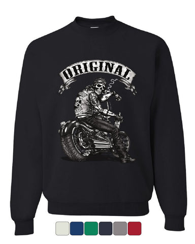 Original Biker Skull Sweatshirt Ride or Die Route 66 Motorcycle MC Sweater