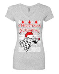 Christmas Is Coming Direwolf Women's V-Neck Tee GoT Parody Ugly Sweatshirt