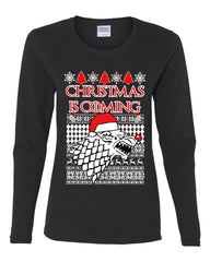 Christmas Is Coming Direwolf Women's Long Sleeve Tee GoT Parody Xmas Ugly